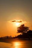Halo de Sun et réflexion de lumière du soleil sur la plage Images libres de droits