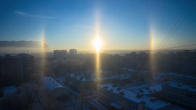 The halo effect on a frosty day in Moscow Stock Photography