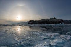 Halo Effect on frozen Lake Baikal. Elenka Island, Lake Baikal, I Stock Photo