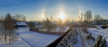 Halo effect of sun in Moscow region, Russia. Winter nature. Halo effect of sun in Moscow region, Russia. Winter landscape stock photos
