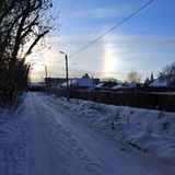 Halo effect of sun in South-Ural region, Russia. Winter nature stock photos
