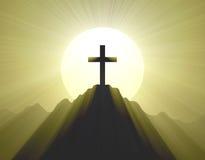 Halo ligero santo cruzado de la montaña Foto de archivo libre de regalías