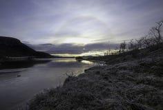 Halo skutek wokoło słońca, Finnland, Naturalny park Kilpisjarvi Obraz Royalty Free