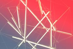 Halogen or led light lamps elements pack for night party or game design. Neon light tubes. Gradient pink background royalty free stock image