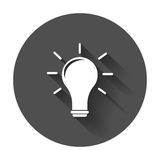 Halogen lightbulb icon. Electricity and idea symbol. Flat vector illustration with long shadow Royalty Free Stock Photo
