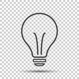 Halogen lightbulb icon. Light bulb sign. Electricity and idea symbol. Thin line icon on isolated background. Flat vector. Illustration stock illustration