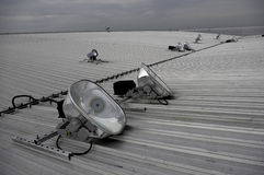 Halogen spotlights on metal roof Royalty Free Stock Photography