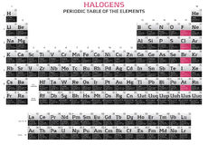Halogens series. In the periodic table of the elements Stock Photos