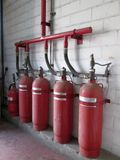 Halon 1301 cylinders. Fire extinguisher system Stock Image