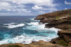 Halona小海湾,奥阿胡岛 库存照片