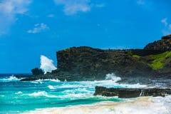 Halona Blow Hole Hawaii Lookout. Honolulu , Oahu,  Hawaii, USA - September 4, 2015:  Sandy Beach Park,  including Halona Blow Hole and Koko Head crater, is a Royalty Free Stock Photo