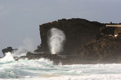 Halona Blowhole Lookout at Sandy's Beach stock photography