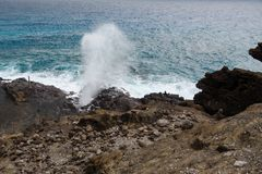 Halona Blowhole, Oahu, Hawaii Royalty Free Stock Images