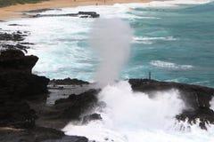 Halona Blowhole & Surfers Stock Photos