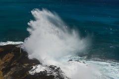 Halona ciosu dziury plaża na Oahu, Hawaje Obrazy Royalty Free