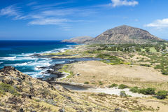 Halona Coastline and Koko Head Crater Stock Photo