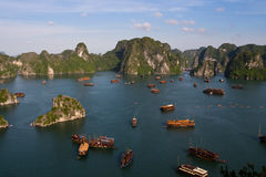 Halong Bay. Junk boats, Vietnam, Asia stock photography