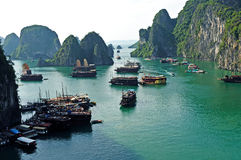 Halong Bay. Ships at Anchor in Halong Bay stock photo