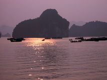 Halong Bay. Sunset on Ha Long Bay, Vietnam Stock Photography