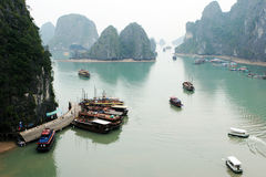 Halong Bay. Aerial view of boats in Halong Bay, Vietnam - travel and tourism stock photography