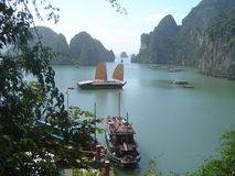 Halong bay boat. View on boats in halong bay stock photos