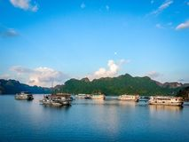 Halong Bay Cruise Scene Vietnam South East Asia stock image