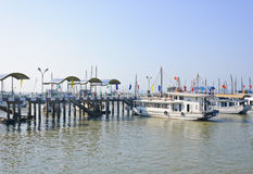Halong bay dock pier Royalty Free Stock Photo