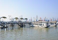 Halong bay dock pier Royalty Free Stock Photo