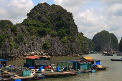 Halong Bay Fishing Village Royalty Free Stock Photo