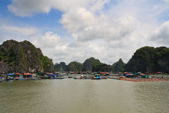 Halong Bay Fishing Village Stock Photography