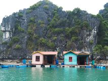 Halong Bay - Floating Fishing Village Stock Image