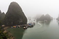 Halong Bay at foggy weather Royalty Free Stock Images