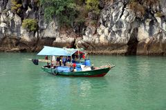 Halong Bay houseboat or fishing boat - Vietnam Asia royalty free stock photo