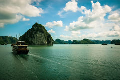 Halong Bay. A junk boat on Halong Bay, Vietnam Royalty Free Stock Images