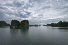 Halong bay Karst landforms in the sea, wonderful UNESCO World Heritage Site, Vietnam. Halong bay Karst landforms in the sea, UNESCO World Heritage Site Travel in stock images