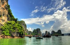 Halong Bay Landscape. One of the many geologic formations known as karst in Halong Bay, Vietnam Stock Photo