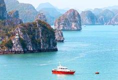 Halong Bay Landscapes, on a misty smoggy day, Vietnam, Southeast Asia stock image