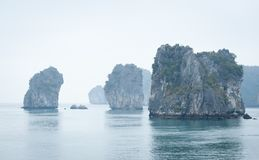 Halong Bay limestone formations Royalty Free Stock Images