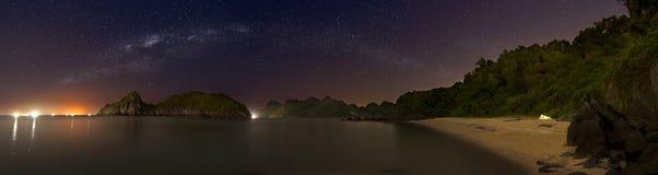 Halong Bay by night, panorama Stock Image