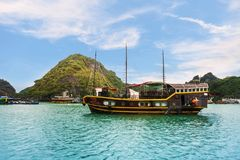 Touristic cruise at the Halong bay, Vietnam. UNESCO World Heritage royalty free stock images