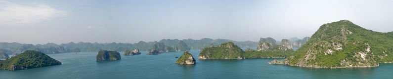 Halong Bay panorama. Panoramic view of rock formations Halong Bay, Vietnam stock photography