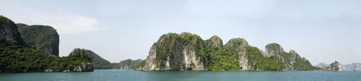 Halong Bay panorama. Panoramic view of rock formations Halong Bay, Vietnam stock photos