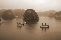 Halong bay on sunset Stock Images