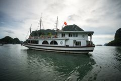 Halong bay with tourist junk. Popular landmark, famous destination of Vietnam.  stock image