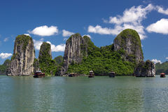 Halong Bay, Vietnam. Traditional boats in the bay stock photos