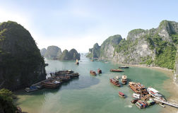 Halong Bay Vietnam. Panoramic view of Halong Bay, Vietnam with tourists boats Stock Image