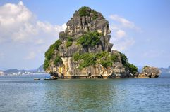 Halong Bay, Vietnam. Limestone geologic formations off Halong Bay in Vietnam Stock Photo
