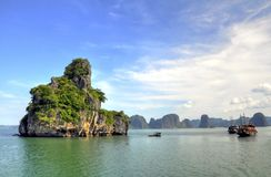 Halong Bay, Vietnam. Limestone geologic formations off Halong Bay in Vietnam Stock Image