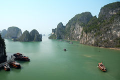 Halong bay in vietnam. Boats on halong bay in vietnam Stock Photos