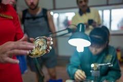 Halong Bay, Vietnam - April 27, 2018: Local guide explains pearl breeding process in Halong Bay Pearl Farm. stock image